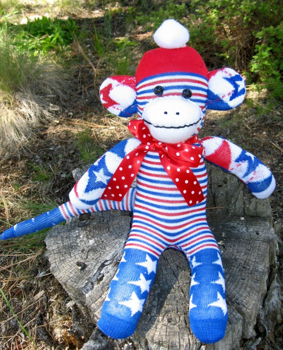 "Sock Monkey Doll Handmade Patriotic  ""Freedom"" July 4th"