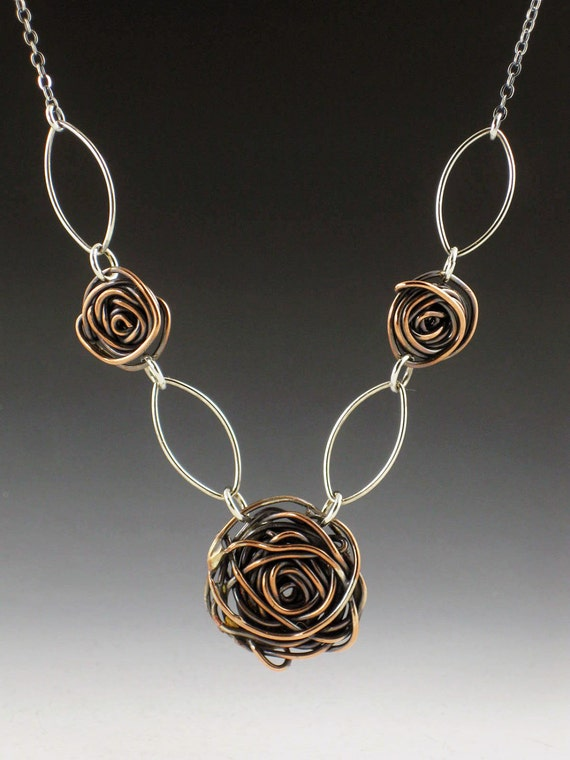 Sterling and Copper Rose Necklace