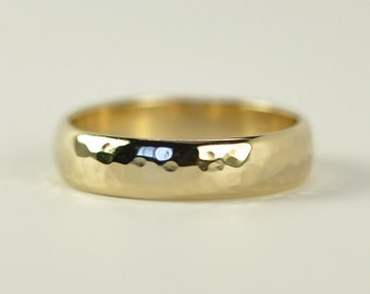 Mens Yellow Gold Half Round Band, 14K Classic Style Wedding Ring, 5 x 1.5mm, Hammered Texture, Sea Babe Jewelry