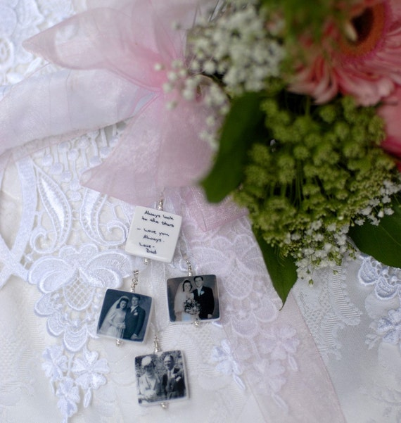 4 Bridal Bouquet Charms, Memorial Photo Pendants - BC2x4