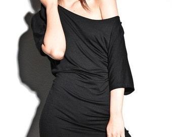 Off The Shoulder Dress, Black Classic Dresses, off shoulder dress, one shoulder dress, lamixx dress, USA made, evening dress, soft dress
