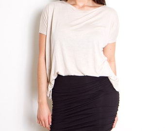 Black Skirts Mini Womens Fitted Skirt  Body Con Ruche Side