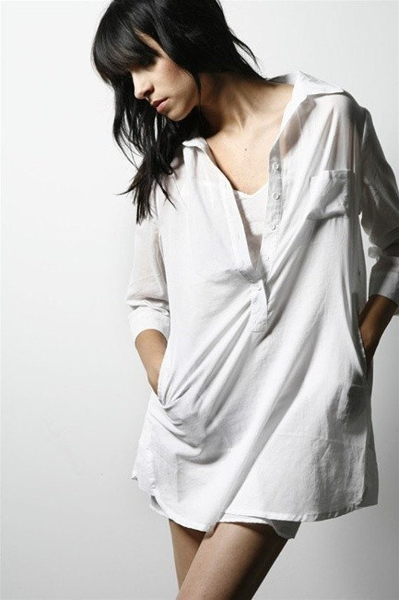 Boyfriend Oversize Top - Polo White Oversized Womens Shirt Tunic Small Medium
