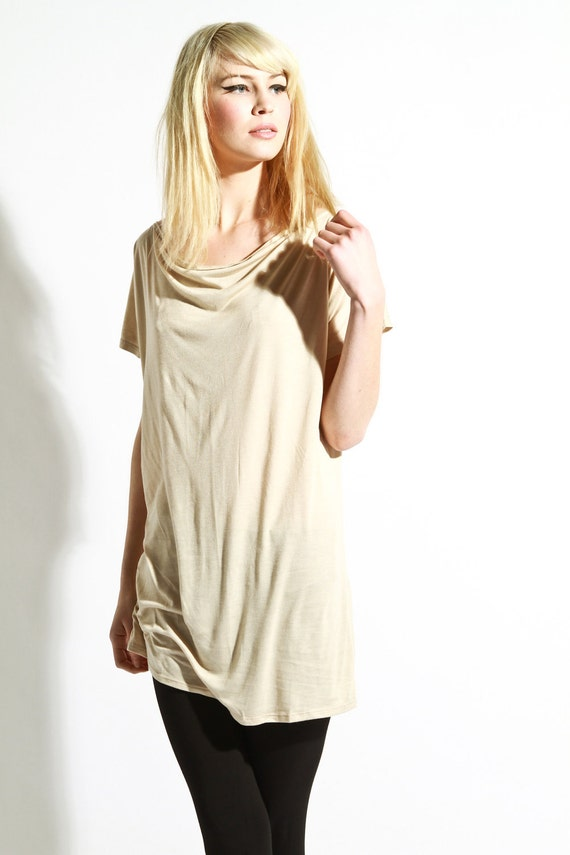 Cowl Blouse Tunic Top - Shrug Au Natural Romantic Beige Small