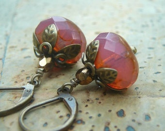 Antique Style Earrings in Pink Opal Czech Glass and Antique Brass