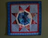 PATRIOTIC LONE STAR, 21 inch square quilt