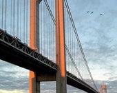 Verrazano Bridge, Sunrise, Original Fine Art, Color Photography - Orange, Blue, Wall decor, Landmark, Color Photograph, Free Shipping