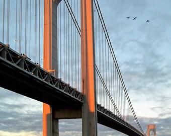 Verrazzano Bridge, Sunrise, Original Fine Art, Color Photography - Orange, Blue, Wall decor, Landmark, Color Photograph, Free Shipping