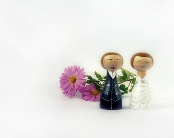 Wedding Cake Topper - Personalized - Wooden art doll hand painted FREE SHIPPING
