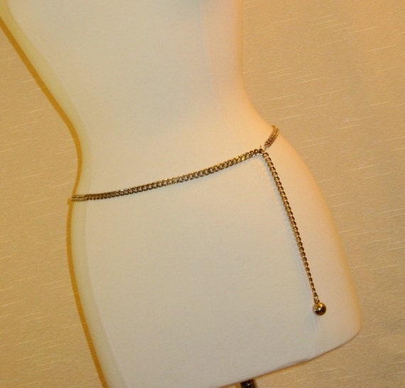 1960s Skinny Gold-Tone Curb Link Belt with Ball Drop