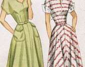1940s Simplicity 2394 Vintage Sewing Pattern Misses' One-Piece Dress with Detachable Cuffs Size 12 Bust 30, Size 14 Bust 32