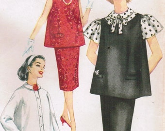 1950s Simplicity 3276 Vintage Sewing Pattern Misses Maternity Skirt, Blouse, Sleeveless Top Size 16 Bust 36