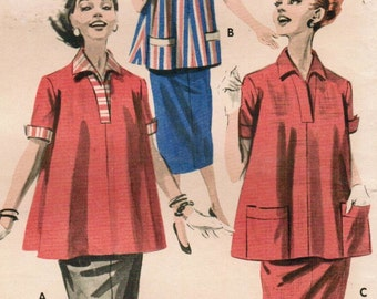 1950s Butterick 7969 Vintage Sewing Pattern Misses Maternity Blouse, Top, Pencil Skirt Size 12 Bust 32