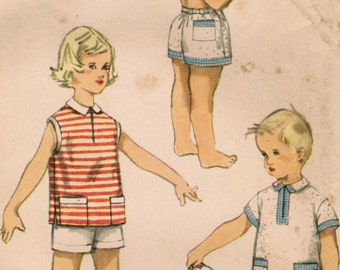 1950s Simplicity 1150 UNCUT Vintage Sewing Pattern Girls Boys Shorts and Shirt Size 6