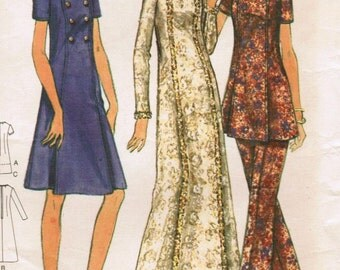 1970s Butterick 6437 Vintage Sewing Pattern Misses' Dress, Tunic, and Pants Size 14 Bust 36