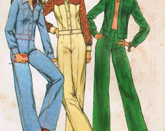 1970s Simplicity 6620 Vintage Sewing Pattern Misses' Unlined Jacket and Pants Size 12 Bust 34