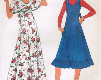 1970s Simplicity 8026 Vintage Sewing Pattern Misses' Dress and Jumper Size 12 Bust 34