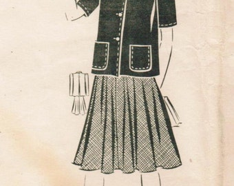 1940s Mail Order 8772 Vintage Sewing Pattern Junior Misses Shorty Jacket and Full Skirt Size 15 Bust 33