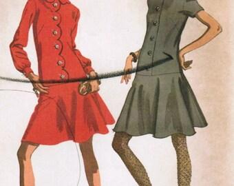 1960s McCall's 9495 UNCUT Vintage Sewing Pattern Junior Drop-Waist Dress Size 9 Bust 32