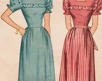1940s Simplicity 1553 Vintage Sewing Pattern Misses' One-Piece Dress Size 12 Bust 30, Size 14 Bust 32