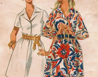 1960s Butterick 5265 Vintage Sewing Pattern Misses Mini Dress, Shirtwaist Dress Size 12 Bust 34
