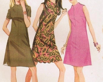 1960s McCall's 9452 Vintage Sewing Pattern Misses' Mini Dress, A-line Dress Size 14 Bust 36