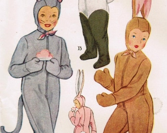 1940s McCall's 1485 Vintage Sewing Pattern Boys or Girls Cat, Panda, and Rabbit Costumes Size 6, Size 10