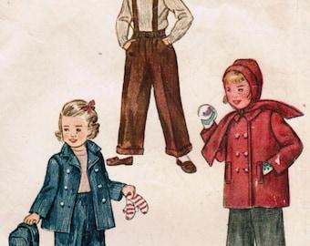 1940s Simplicity 2968 Vintage Sewing Pattern Girls' Jacket, Hood, and Slacks Size 4