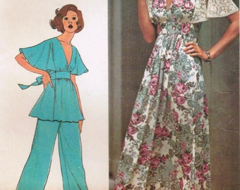 1970s Simplicity 6710 Vintage Sewing Pattern Misses' Dress or Top and Pants Size 7 Junior Petite Size 9 Junior Petite