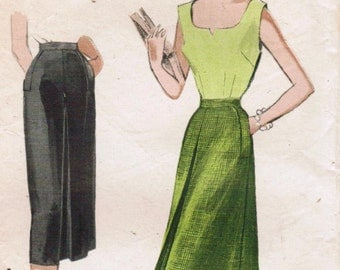 1950S Butterick 5690 Vintage Sewing Pattern Misses' Tailored Skirt, Flared Skirt Size Waist 24