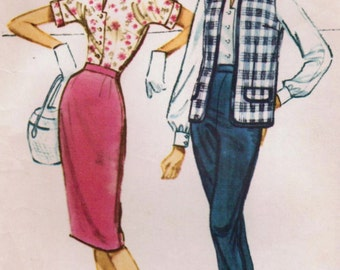 1950s McCall's 5043 Vintage Sewing Pattern Misses Pencil Skirt, Blouse, Pants, Sleeveless Cardigan Jacket or Vest Size 12 Bust 32