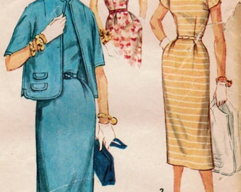 1950s Simplicity 1078 Vintage Sewing Pattern Misses Slim Dress, Sheath, Cardigan Jacket Size 18 Bust 36