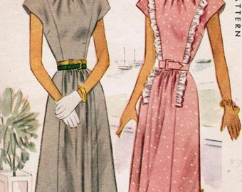 1940s McCall 6838 Vintage Sewing Pattern Junior Dress Size 15 Bust 33