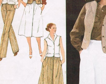 1970s Simplicity 8999 Vintage Sewing Pattern Misses Skirt, Tailored Pants, and Fitted Vest Size 14 Bust 36