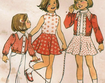 1970s Simplicity 6820 Vintage Sewing Pattern Girls Cropped Jacket and Sleeveless Dress Size 5