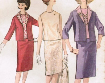 1960s Simplicity 5577 Vintage Sewing Pattern Misses Proportioned Pencil Skirt, Short Jacket and Blouse Size 14 Bust 34