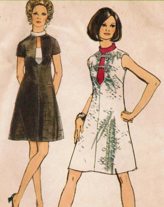 1970s Simplicity 8734 UNCUT Vintage Sewing Pattern Misses' Dress Size 14 Bust 36