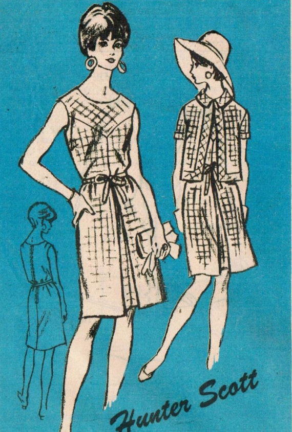 1960s Mail Order A560 UNCUT Vintage Sewing Pattern Misses' Dress and Jacket Size 16 Bust 36