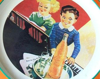 Orange Crush Tray Tin Advertising Sign 1979 Soda Fountain Children at the Piano Collectibles Music Nostalgic Serving Barware Wall Hanging