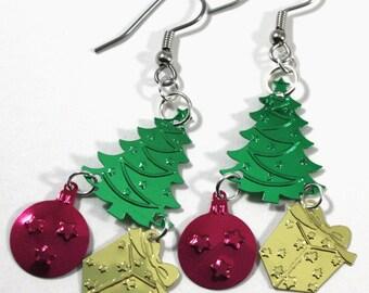 Christmas Earrings Green Christmas Tree Presents & Ornaments Dangle Plastic Sequins