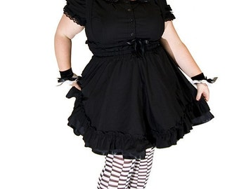 Gothic Lolita Dress - Black Cotton Jumper Petite to Plussize  - Underbust Suspender Skirt -Custom to your size S- 5XL