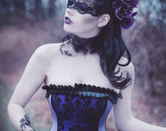Goth Wedding Dress - Purple Black Flocked Taffeta - Corset Gown Steampunk Halloween Velvet - Mardi Gras Masquerade Prom -Custom to your size