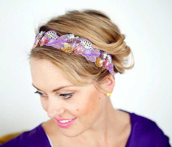 Boho Sequin Floral Headband Women Teen Adult Size Etsy Plums and Purples