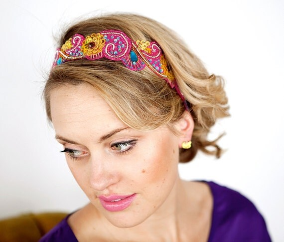 Bohemian Headband - Hot Pink, Turquiose Blue and Sunflower Yellow Womens and Teens
