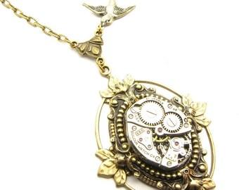Steampunk Brass Ornate Floating Leaf Necklace