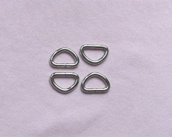 Nickel Unwelded D Rings --50 pcs--0.5 inch inside wide