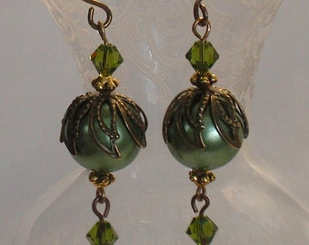 Victorian Olivine Green Pearl and Crystal Earrings Handmade by Annie O Vintage Style for the Contemporary Woman