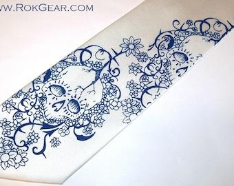 2 Skull Neckties - floral skull design RokGear silkscreen mens tie