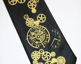 RokGear Steampunk necktie print - Mens necktie clock works gears - print to order in colors of your choice