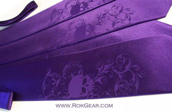 mens skull necktie, dark purple tie dark purple skull design